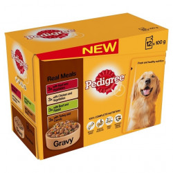 PEDIGREE POUCHES GRAVY REAL MEALS 12 x 100g