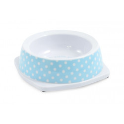 BLUE POLKA DOT CAT DISH