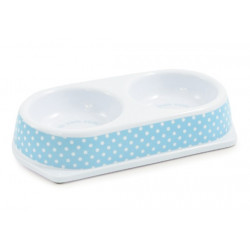 BLUE POLKA DOT CAT DISH TWIN